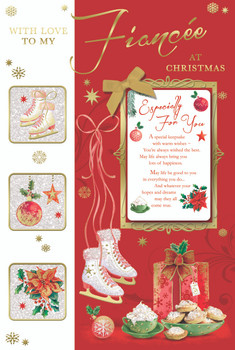 For Fiancee Ice Skate Design Glitter Finished Christmas Card