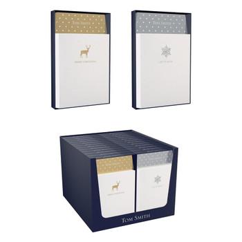 Snow Flower and Deer Design Christmas Luxury Portrait Greeting Card