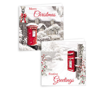 Pack of 10 Postbox Scene Design Square Christmas Greeting Cards