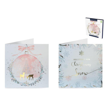 Pack of 12 Winter Pastels Premium Square Christmas Cards