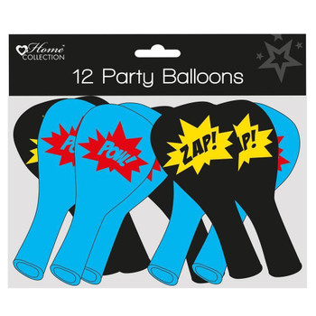 Pack of 12 Superhero Design Party Balloons