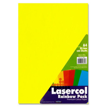Pack of 100 Sheets A4 80gsm Rainbow Assorted Colour Paper by Lasercol