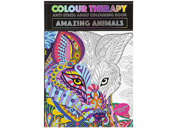 A4 48 Pages Amazing Animals Colour Therapy Book