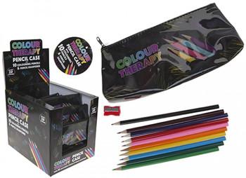 Colour Therapy Black Triangle Pencil Case with Pencils
