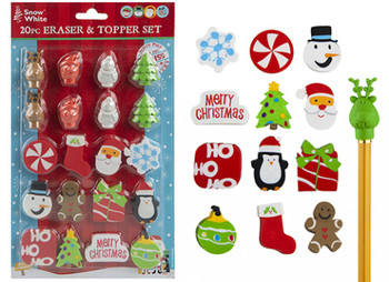 Pack of 20 Christmas Erasers and Toppers