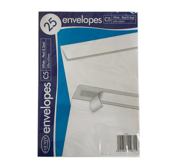 County Peel & Seal 25 Pack C5 Envelopes White (80gsm)
