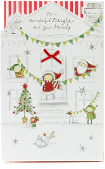 Daughter and Family Christmas Card with Red Bow