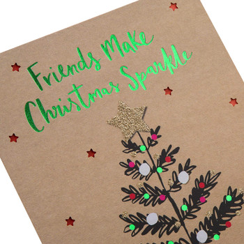 Christmas Tree With Glitter Star Design Friend Christmas Card