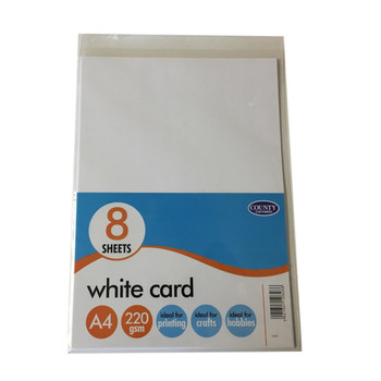 8 A4 White Card Pack 220gsm