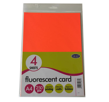 4 Fluorescent Card Pack 250gsm