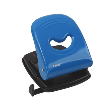 Metal Blue Medium Duty Hole Punch with Paper Measure Indicator