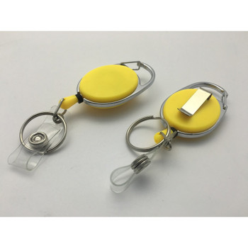 Yellow Solid Key Reel with Keyring & ID Card Badge Holder