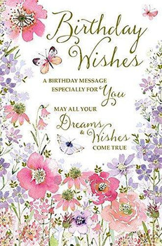 Happy Birthday Flowers and Butterflies Traditional Female New Greetings Card