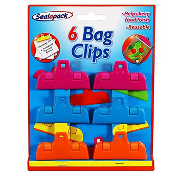 6 Bag Clips Re-usable Multi-coloured Kitchen Food Bag Grip Clips