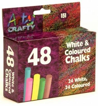 48 White and coloured Chalks 24 white 24 coloured