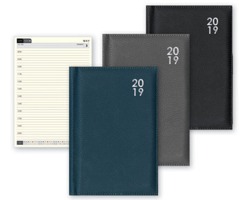 2019 A5 Premium Week Day to View Diary Padded Appointments - Grey