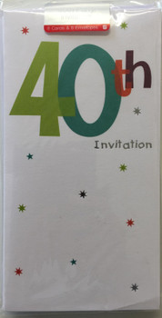 40th Birthday Party Invitations by Carlton Cards Pack of 8 White Invites