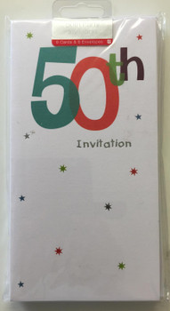 50th Birthday Party Invitations by Carlton Cards(Pack of 8 White Invites