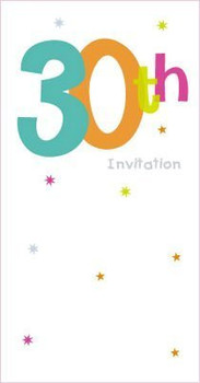 30th Birthday Party Invitations Pack of 8 White