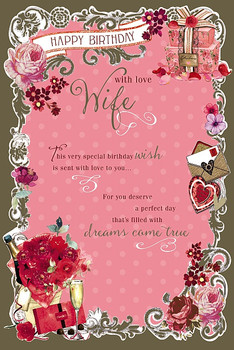 With Love Wife Birthday Card