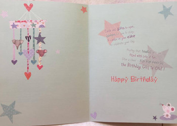 1st Birthday Card Large For Girl