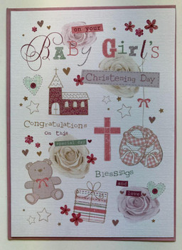 Baby Girls Christening Day Card