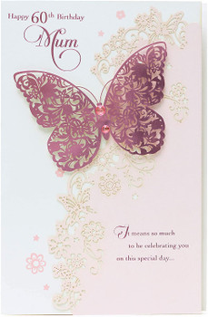 60th Birthday Mum Handmade Butterflies Luxury Pretty Laser Cut