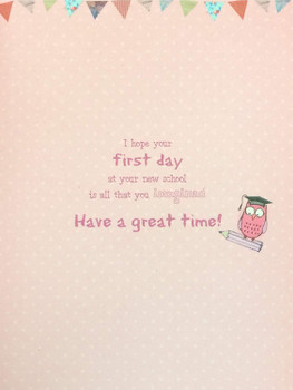1st Day at School Card  To A Special Little Girl