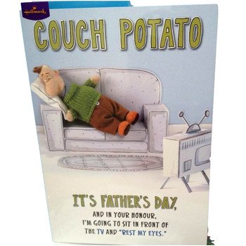"""""""Couch Potato"""" Funny Dad  Father's Day Greetings Card"""