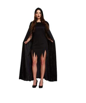 Adult Cape with Hood Black Velvet Fancy Dress Up Costume