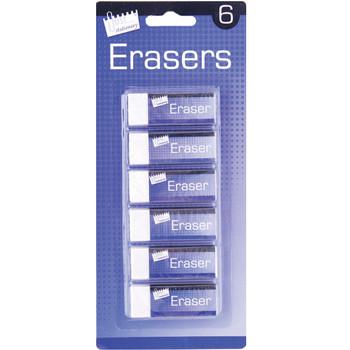 6 White Erasers