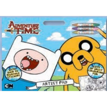 Adventure Time Artist Pad Includes (3 Crayons & Reusable Stickers)