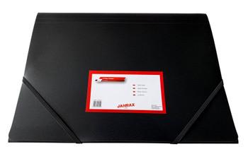 Janrax A4 Black 3 Flap Folder with Elasticated Closure