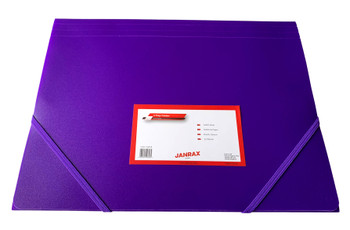 Janrax A4 Purple 3 Flap Folder with Elasticated Closure