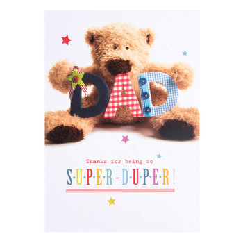 Birthday Card For Dad 'Super-Duper' with cute Bear