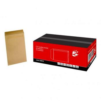 Pack of 500 5 Star Office Envelopes C5 Pocket Self Seal 115gsm Manilla