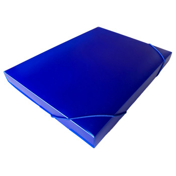 A4 Clearview Blue Box File with Elastic Closure