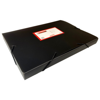 A4 Clearview Black Box File with Elastic Closure