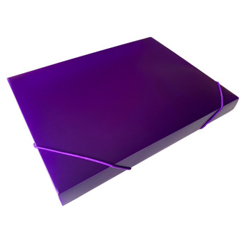 A4 Clearview Purple Box File with Elastic Closure