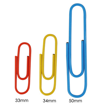Pack of 100 Assorted Coloured 50mm Paper Clips