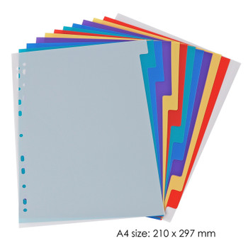 A4 12 Part Plastic Coloured Tab Index Dividers