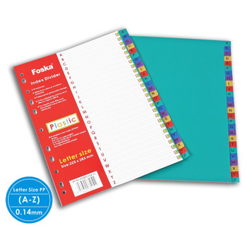 A-Z Multicoloured Tab Plastic Index Dividers