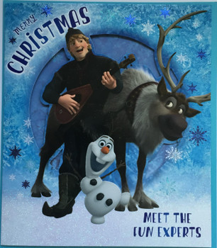 """""""Merry Christmas Meet The Fun Experts"""" Disney's Frozen Christmas Card For Boys Featuring Olaf The Snowman, Kristoff And Sven The Reindeer"""