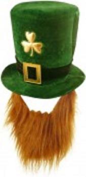 Hat Shamrock Velvet with Beard Deluxe Adult