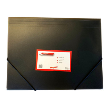 Janrax A4 Clearview Black 3 Flap Folder with Elasticated Closure