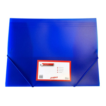 Janrax A4 Clearview Blue 3 Flap Folder with Elasticated Closure