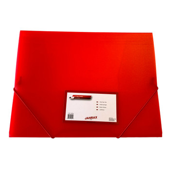 Janrax A4 Clearview Red 3 Flap Folder with Elasticated Closure