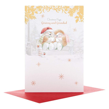 Hallmark Granny and Grandad Medium Christmas Card 'Hugs'
