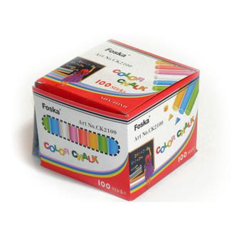 Box of 100 Coloured Chalk Sticks - Non Toxic