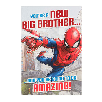 """""""Going To Be Amazing"""" Spiderman Baby Brother Card"""